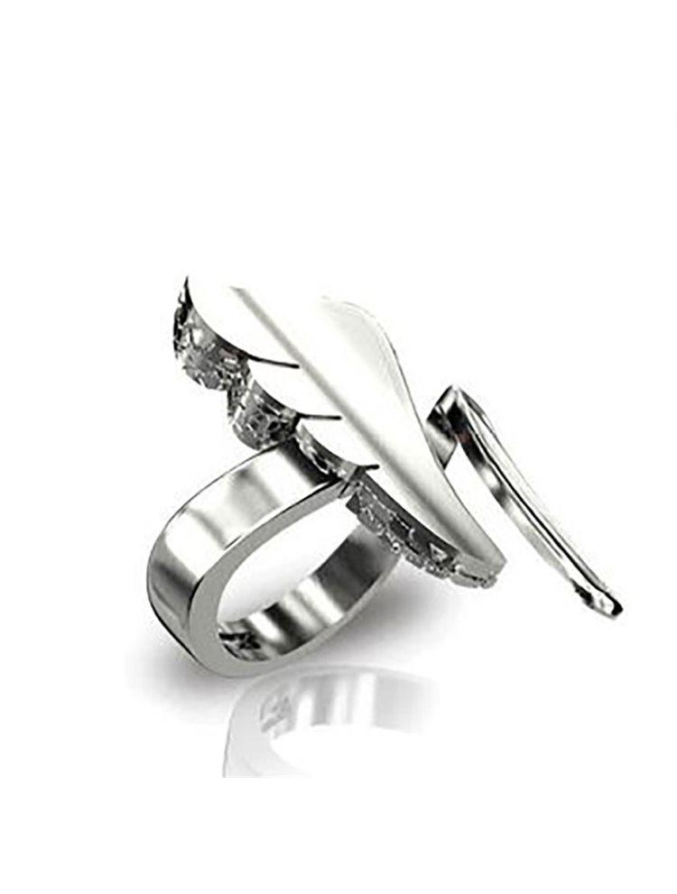 Δαχτυλίδι φτερό από ασήμι