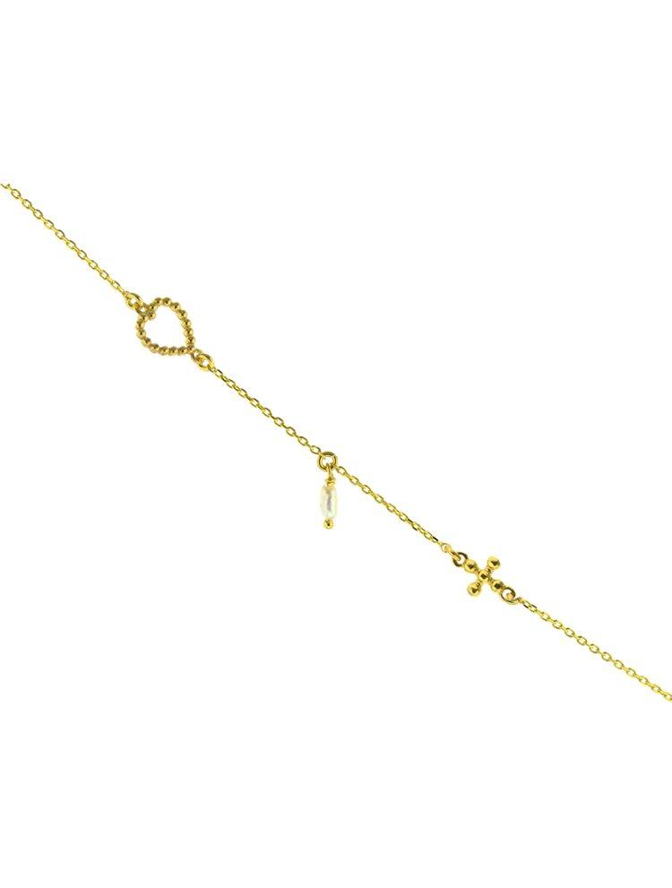 Βραχιόλι από επιχρυσωμένο ασήμι με καρδιά σταυρό και μαργαριτάρι
