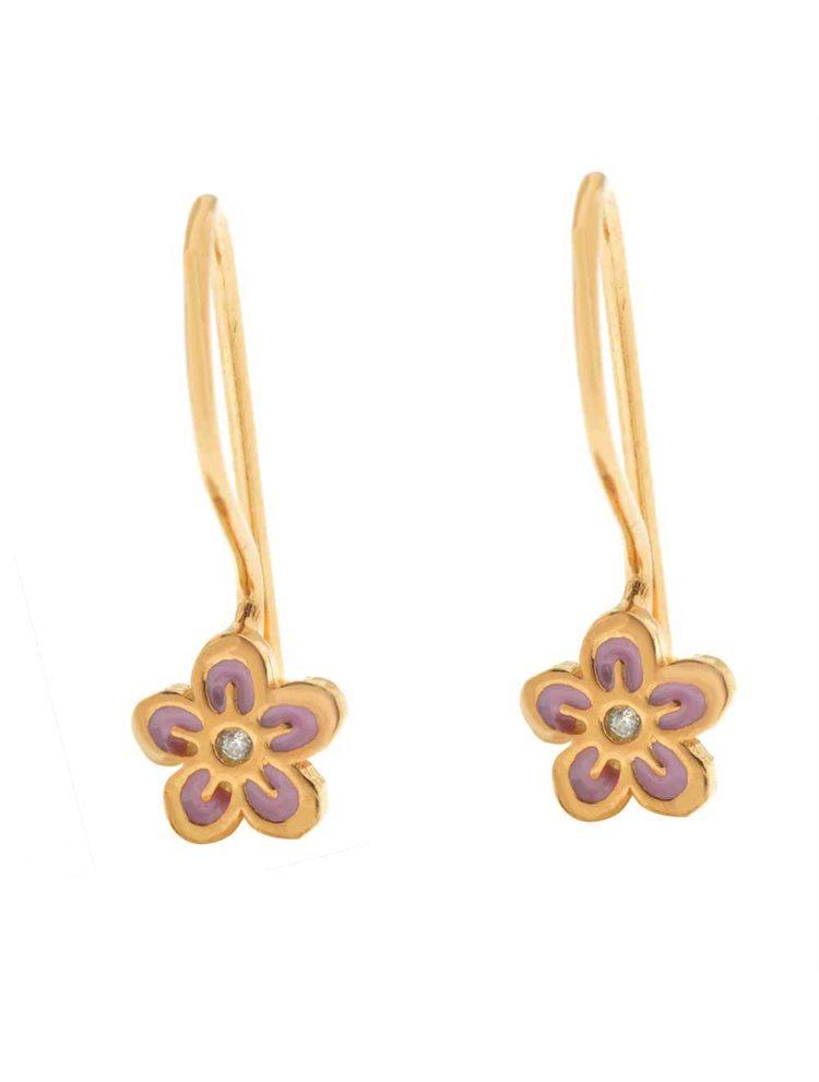 Παιδικά σκουλαρίκια από ρόζ επιχρυσωμένο ασήμι λουλουδάκια
