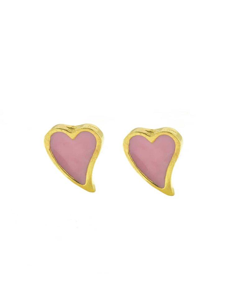 Παιδικά σκουλαρίκια από επιχρυσωμένο ασήμι καρδιές