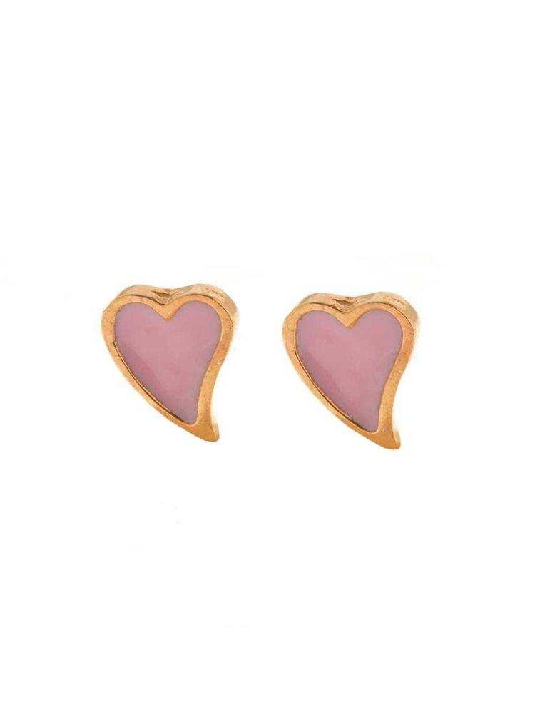 Παιδικά σκουλαρίκια από ρόζ επιχρυσωμένο ασήμι καρδιές