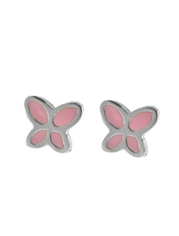 Παιδικά σκουλαρίκια από ασήμι πεταλούδες λουλουδάκια