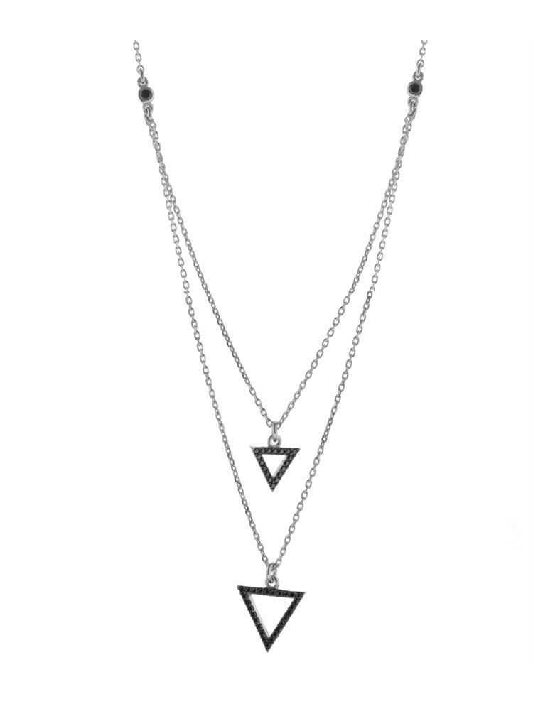 Κολιέ από ασήμι διπλό με τρίγωνα και πέτρες ζιργκόν