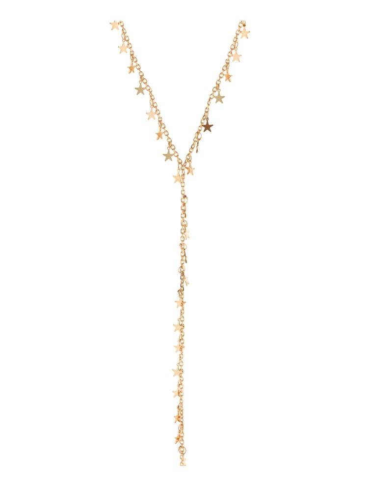 Ασημένιο κολιέ ρόζ επιχρυσωμένο τύπου γραβάτα με αστεράκια