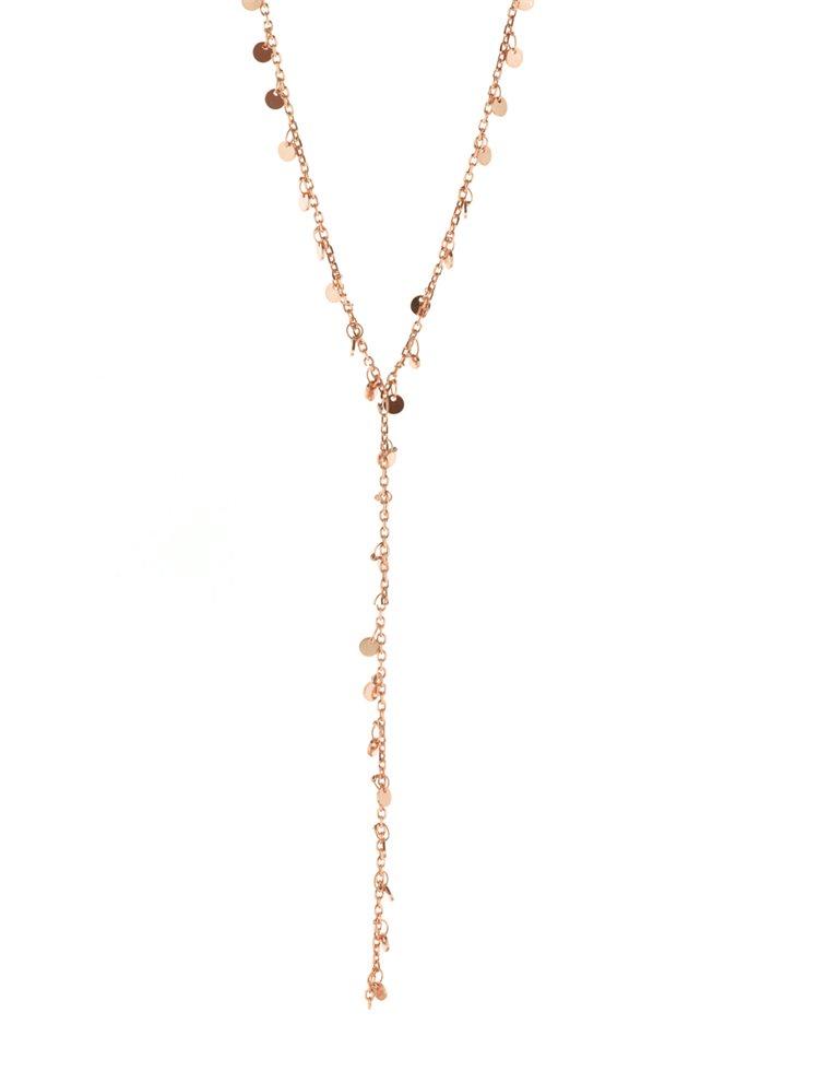 Ασημένιο κολιέ ρόζ επιχρυσωμένο τύπου γραβάτα με κυκλάκια