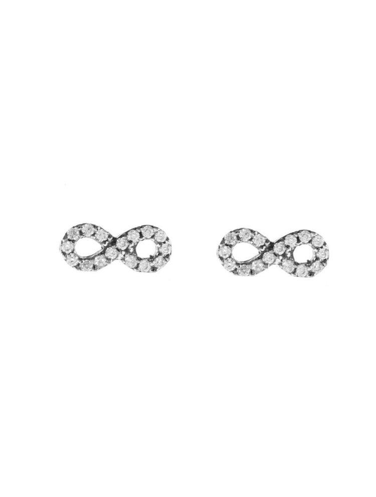 Σκουλαρίκια γυναικεία άπειρο από ασήμι με πέτρες ζιργκόν