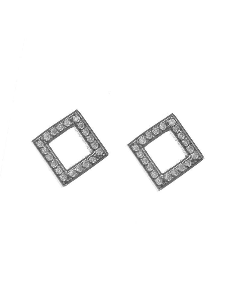 Σκουλαρίκια γυναικεία ρόμβος από ασήμι με πέτρες ζιργκόν