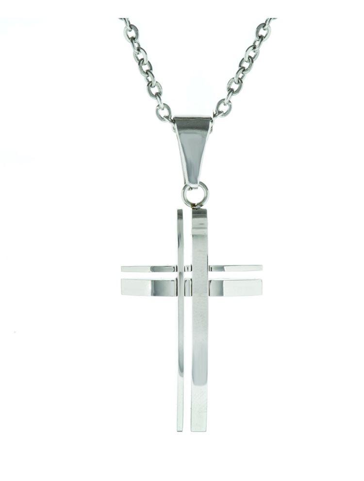 Ανδρικό κολιέ από ανοξείδωτο ατσάλι με σταυρό και αλυσίδα