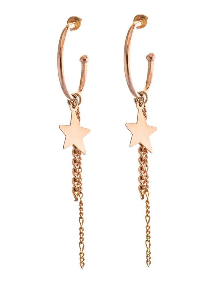 Μοντέρνα χειροποίητα σκουλαρίκια κρίκοι με αλυσίδες και αστέρι σε ρόζ επιχρυσωμένο ασήμι