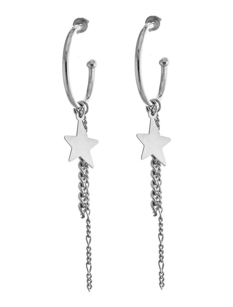 Μοντέρνα χειροποίητα σκουλαρίκια κρίκοι με αλυσίδες και αστέρι σε ασήμι