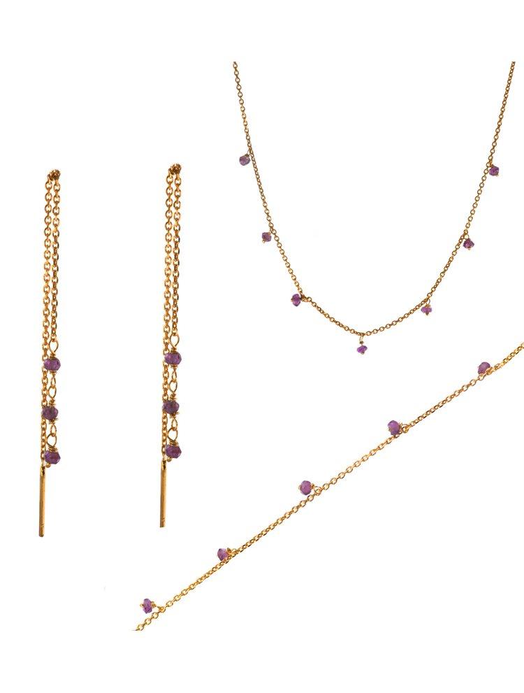 Σέτ κολιε σκουλαρίκια και βραχιόλι από ρόζ επιχρυσωμένο ασήμι με αμέθυστο
