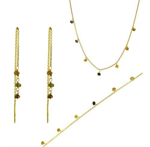 Σέτ κολιε σκουλαρίκια και βραχιόλι από επιχρυσωμένο ασήμι με αχάτη
