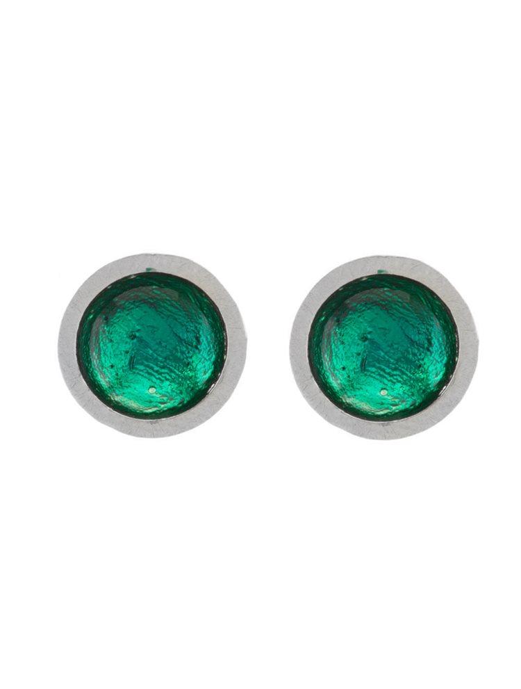 Χειροποίητα σκουλαρίκια από ασήμι με πράσινο σμάλτο
