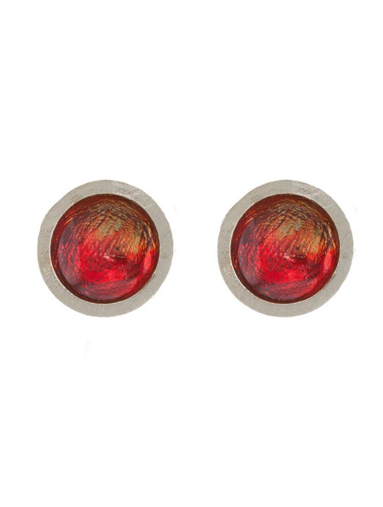 Χειροποίητα σκουλαρίκια από ασήμι με κόκκινο σμάλτο