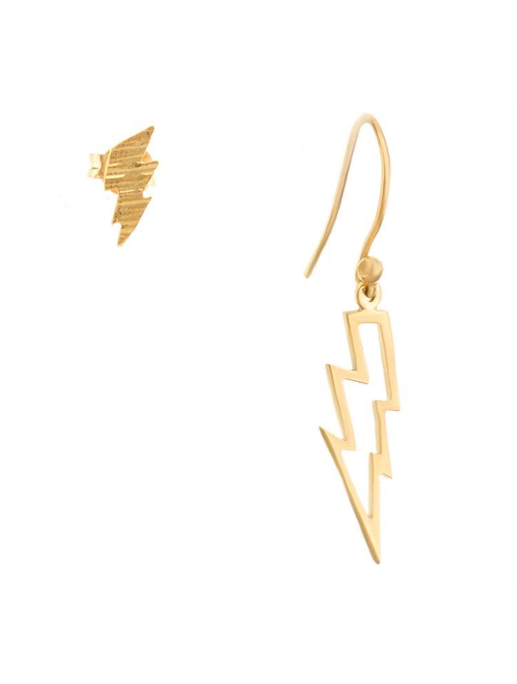 Χειροποίητα σκουλαρίκια από επιχρυσωμένο ασήμι κεραυνός κρεμαστό και καρφωτό