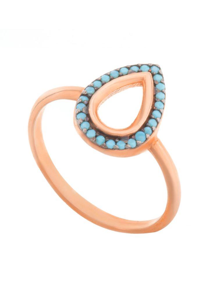 Δαχτυλίδι από ρόζ επιχρυσωμένο ασήμι με πέτρες τυρκουάζ