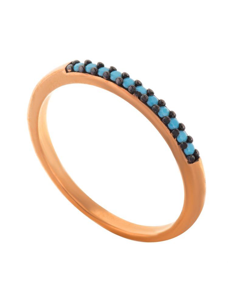 Δαχτυλίδι βεράκι από ρόζ επιχρυσωμένο ασήμι με πέτρες τυρκουάζ