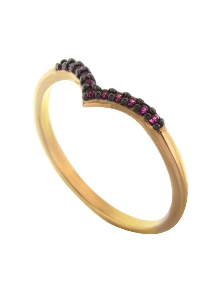 Δαχτυλίδι βεράκι σχήμα V από επιχρυσωμένο ασήμι με πέτρα ζιργκόν