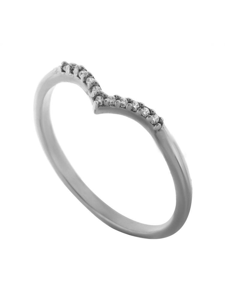 Δαχτυλίδι βεράκι σχήμα V από ασήμι με πέτρα ζιργκόν