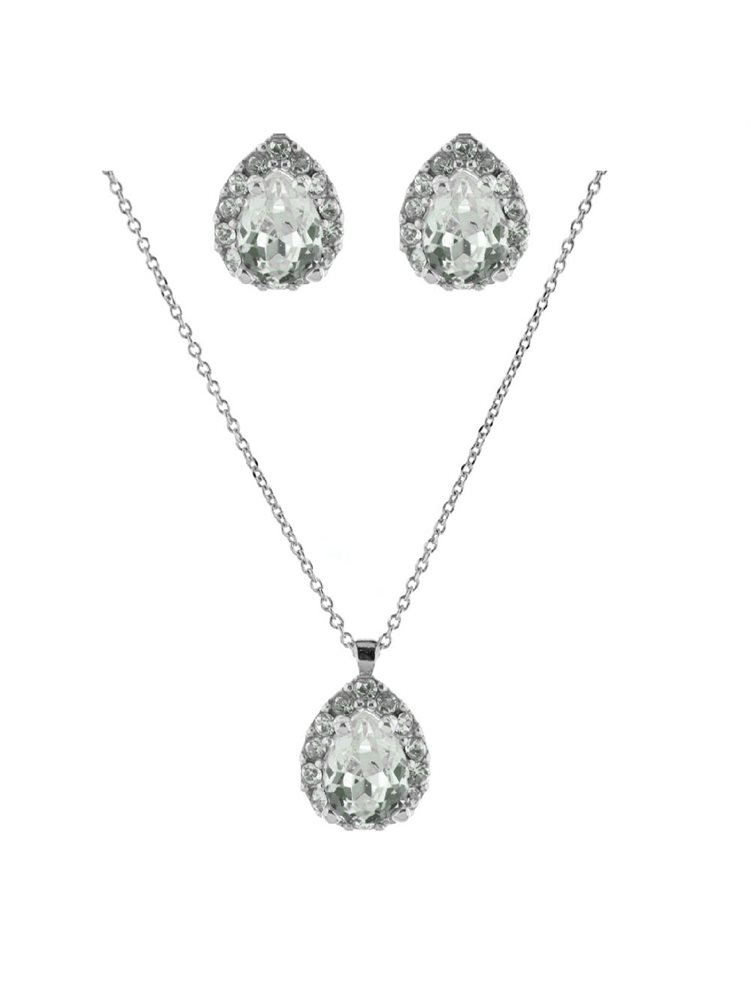 Νυφικό σέτ σκουλαρίκια και κολιέ συλλογή Bridal 2020 από ασήμι με πέτρες Swarovski