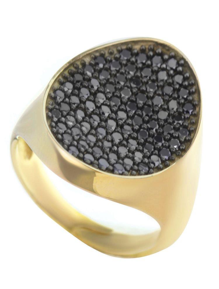 Μοντέρνο δαχτυλίδι συλλογή Colour Callisto 2019 από επιχρυσωμένο ασήμι με πέτρες ζιργκόν σε μαύρο χρώμα