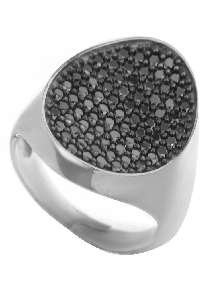 Μοντέρνο δαχτυλίδι συλλογή Colour Callisto 2019 από ασήμι με πέτρες ζιργκόν σε μαύρο χρώμα