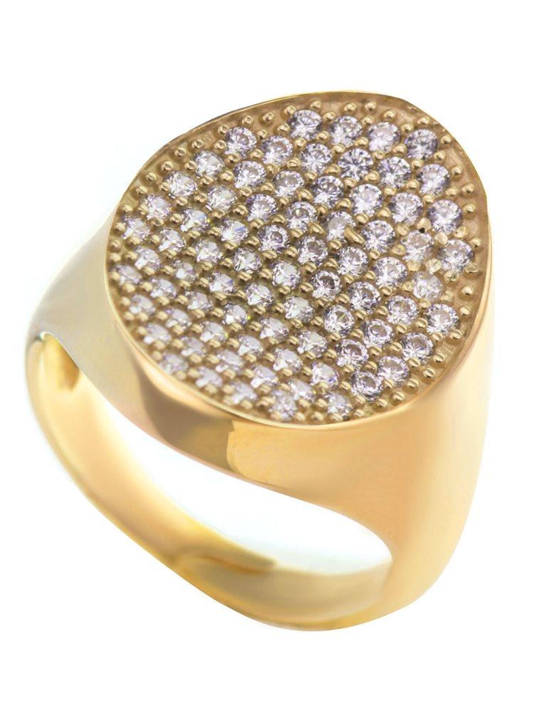 Μοντέρνο δαχτυλίδι συλλογή Colour Callisto από επιχρυσωμένο ασήμι με πέτρες ζιργκόν σε λευκό χρώμα