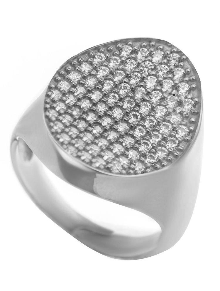 Μοντέρνο δαχτυλίδι συλλογή Colour Callisto από ασήμι με πέτρες ζιργκόν σε λευκό χρώμα