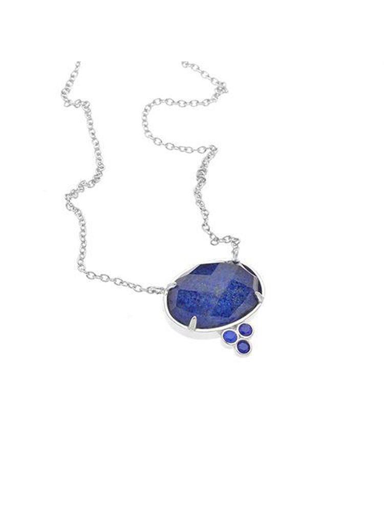 Ασημένιο κολιέ συλλογή Colour Callisto με μπλέ πέτρα ταγέ ρουθήνιο