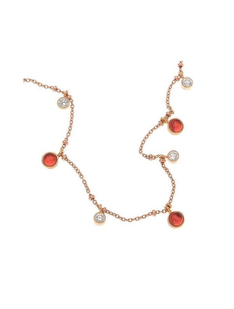 Κολιέ συλλογή Colour Callisto από ρόζ επιχρυσωμένο ασήμι με χρωματιστό κρύσταλλο και πέτρες ζιργκόν
