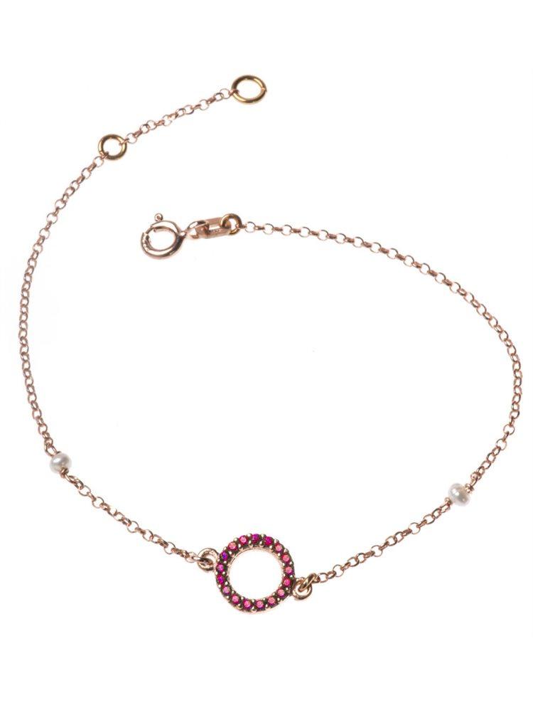 Βραχιόλι από ρόζ επιχρυσωμένο ασήμι κύκλος με πέτρες ζιργκόν