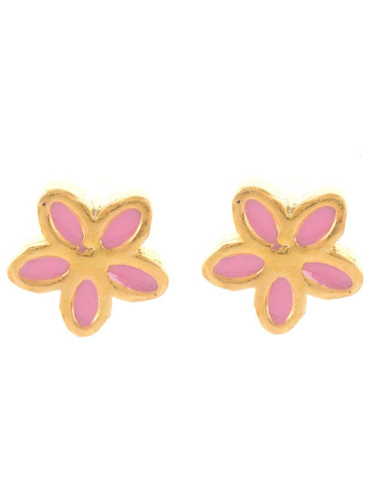 Σκουλαρίκια παιδικά από επιχρυσωμένο ασήμι λουλούδια