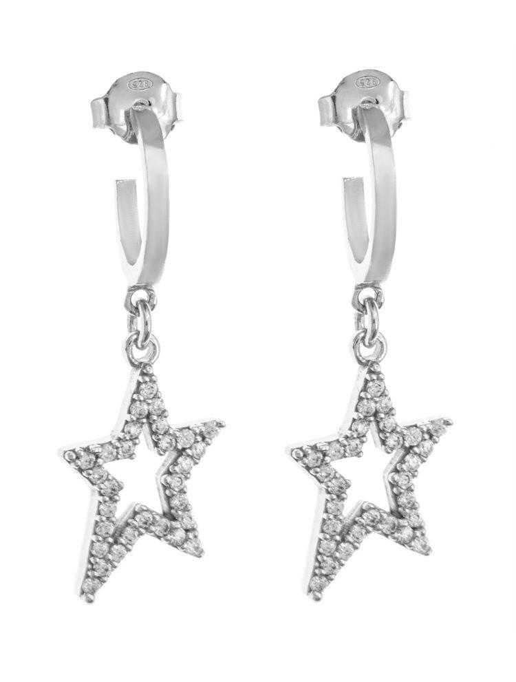 Σκουλαρίκια κρικάκια με κρεμαστό στοιχείο αστέρι και μέταλλο από ασήμι με πέτρες ζιργκόν
