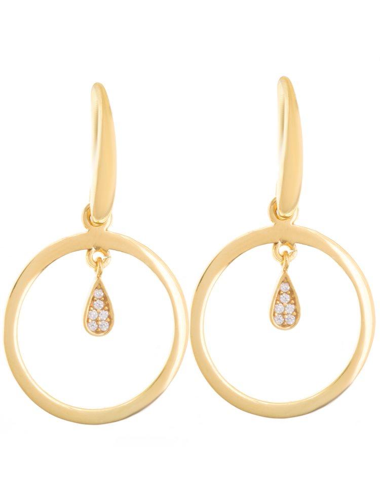 Σκουλαρίκια σκουλαρίκια κρεμαστά από επιχρυσωμένο ασήμι με πέτρες ζιργκόν