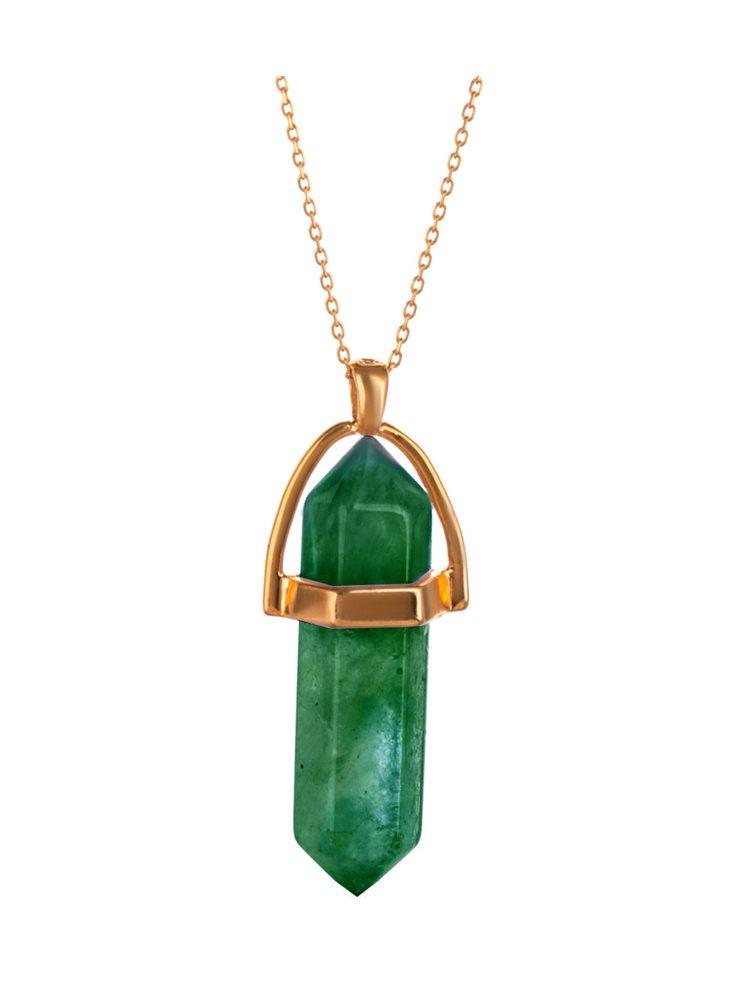 Κολιέ συλλογή bullet stones από επιχρυσωμένο ασήμι με πράσινο quartz