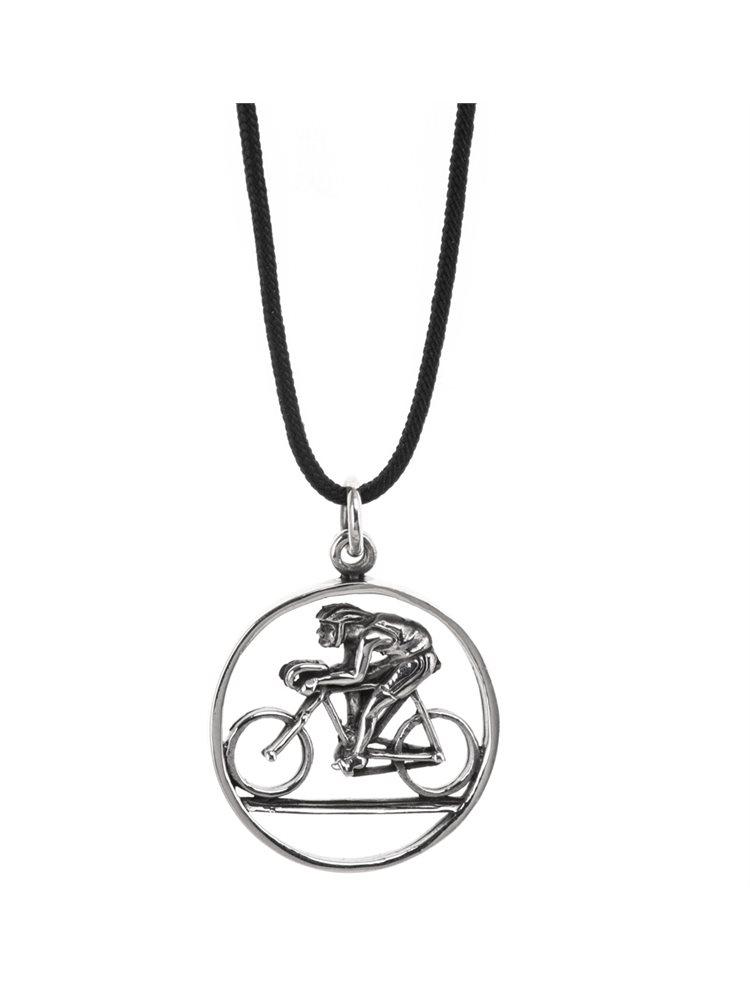 Κολιέ unisex από ασήμι με το άθλημα της ποδηλασίας