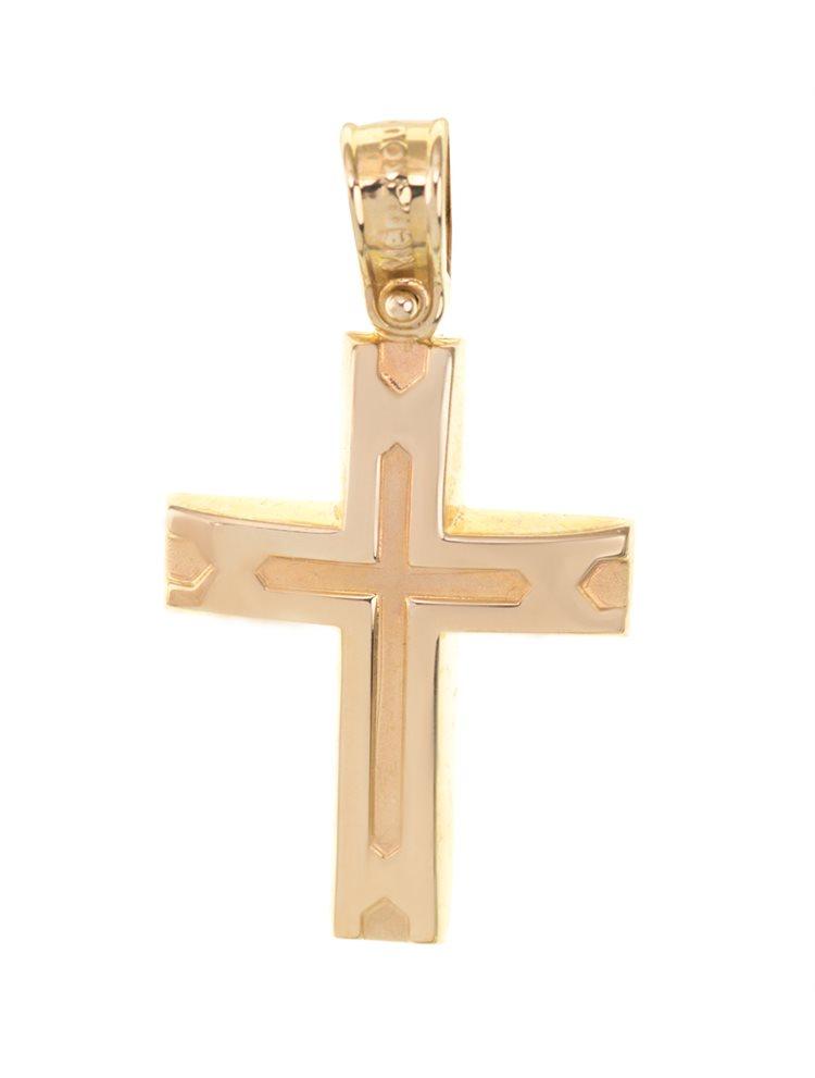 Σταυρός βάπτισης για αγόρι από χρυσό 14 καρατίων