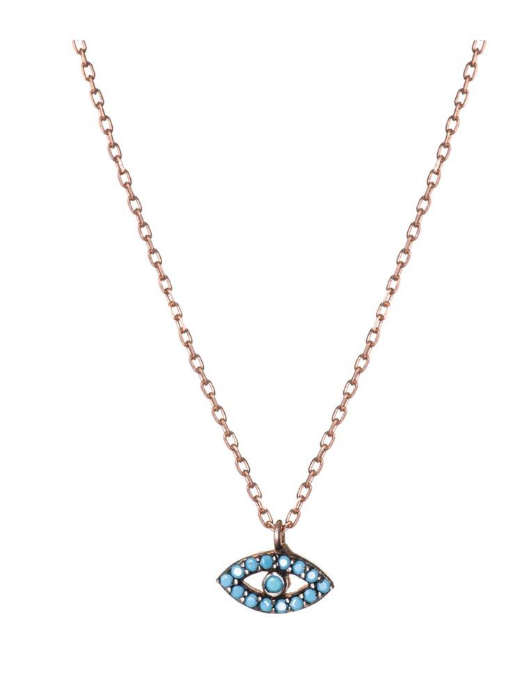 Κολιέ με ματάκι από ρόζ επιχρυσωμένο ασήμι με πέτρες ζιργκόν