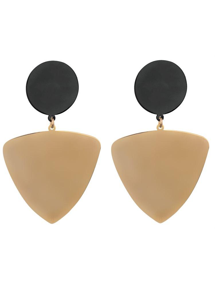Δίχρωμα εντυπωσιακά μοντέρνα σκουλαρίκια σε χρυσό και μαύρο πλατινωμένο ασήμι