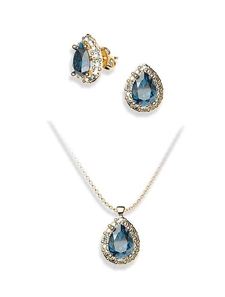 Σέτ κοσμημάτων από επιχρυσωμένο ασήμι κολιε και σκουλαρίκια με πέτρες Swarovski