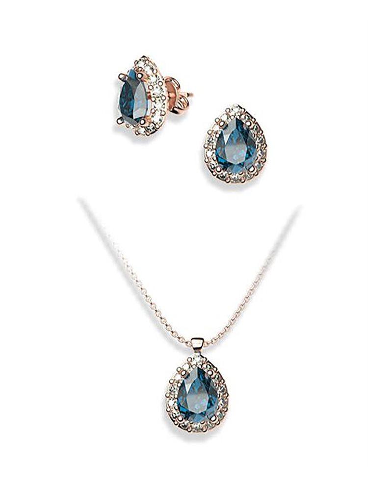 Σέτ κοσμημάτων από ρόζ επιχρυσωμένο ασήμι κολιε και σκουλαρίκια με πέτρες Swarovski