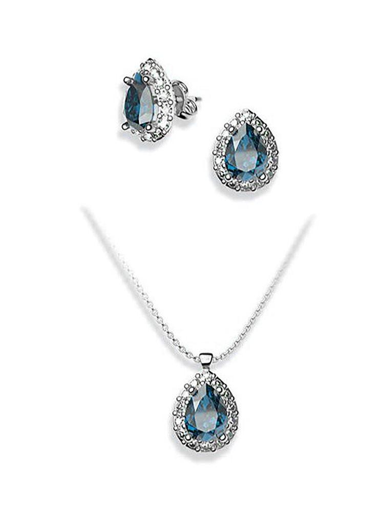 Σέτ κοσμημάτων από ασήμι κολιε και σκουλαρίκια με πέτρες Swarovski