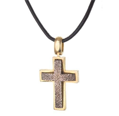 Ανδρικό κολιέ με σταυρό από επιχρυσωμένο ασήμι και δέρμα
