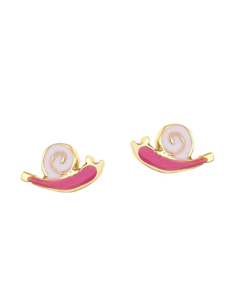 Παιδικά σκουλαρίκια από επιχρυσωμένο ασήμι με σμάλτο σαλιγκαράκια
