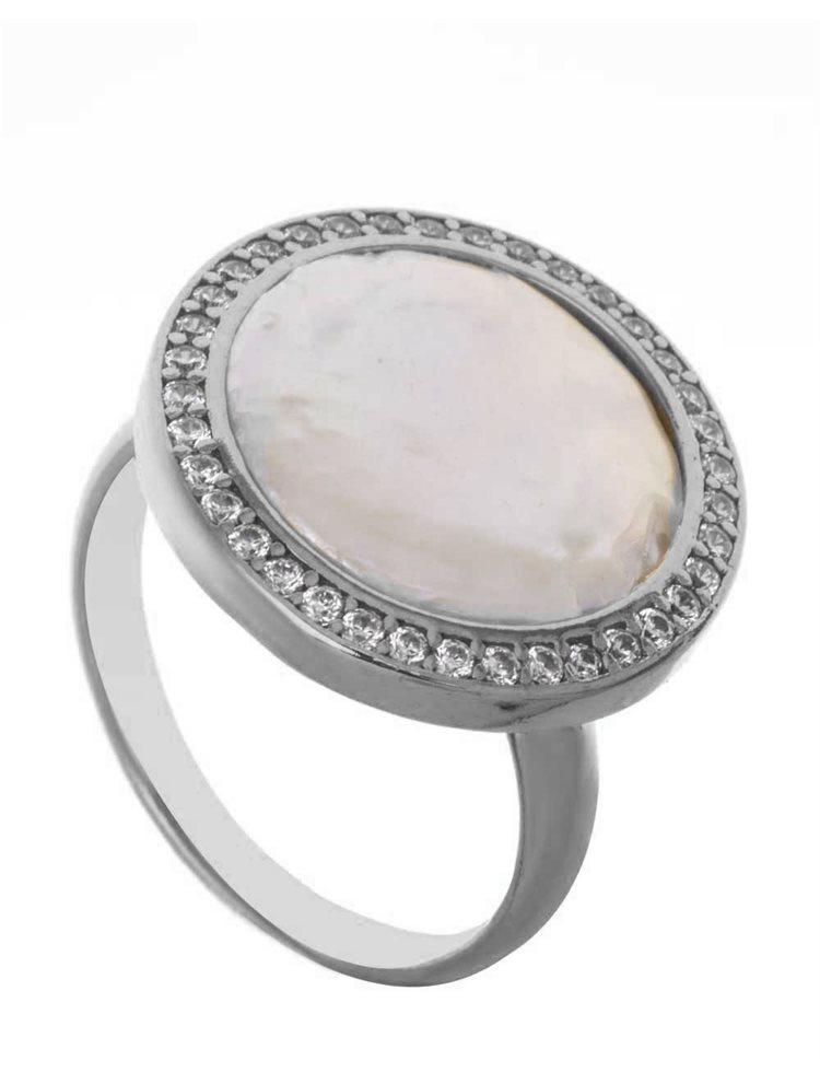 Δαχτυλίδι από ασήμι με πέτρες ζιργκόν και ένα μεγάλο μαργαριτάρι