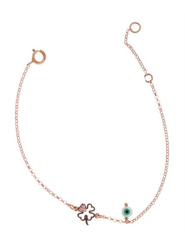 Βραχιόλι από ρόζ επιχρυσωμένο ασήμι με τετράφυλλο για γούρι και ματάκι
