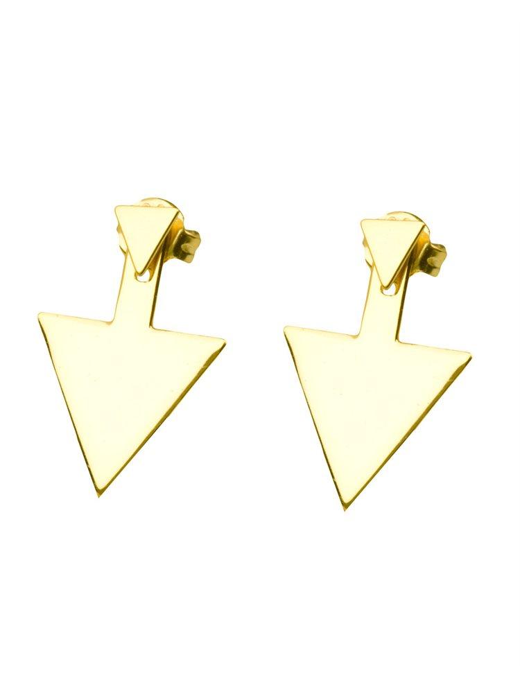 Σκουλαρίκια τρίγωνα από επιχρυσωμένο ασήμι