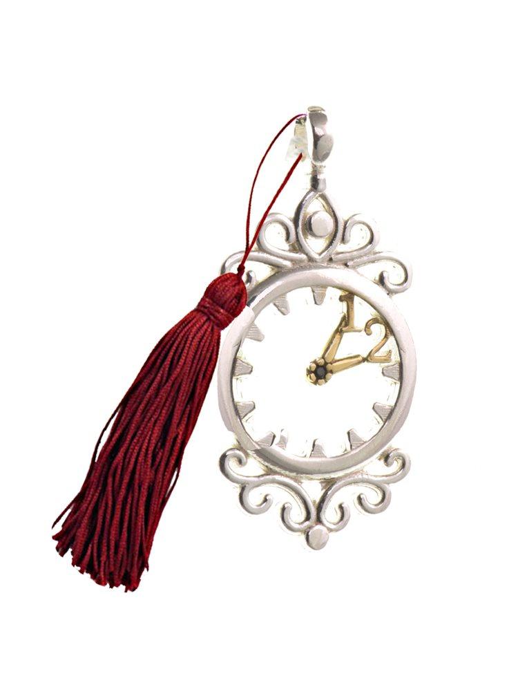 Γούρι για το 2021 από ασήμι 925 με ρόλόι και φούντα