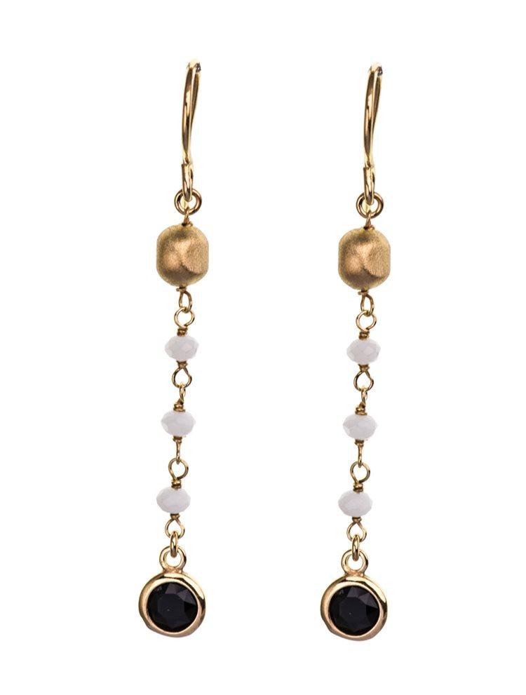 Σκουλαρίκια κρεμαστά από επιχρυσωμένο ασήμι με πέτρες Quartz σε λευκό και μαύρο χρώμα