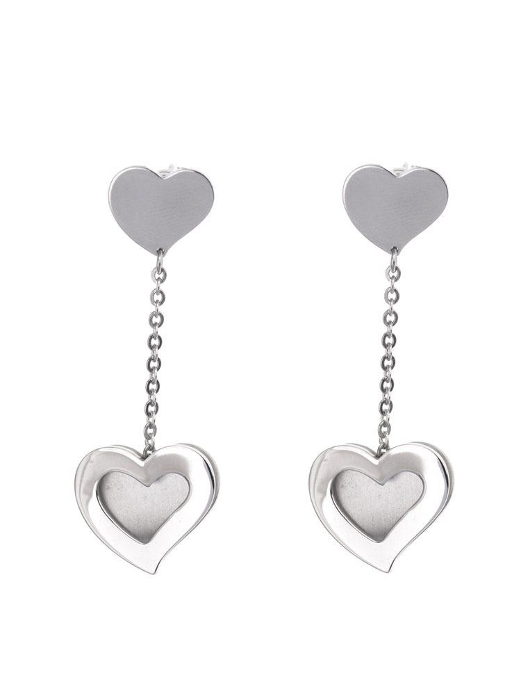 Σκουλαρίκια κρεμαστά από ατσάλι 316L με καρδιές